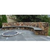 Patio Garden Ideas Cool Outdoor Design Using Curved Stone Bench And Round Inground Fire Pit With Concrete Wooden Tiles Concrete Patios, Concrete Fire Pits, Flagstone Patio, Backyard Patio, Backyard Landscaping, Stone Patio Designs, Outdoor Patio Designs, Patio Ideas, Garden Ideas