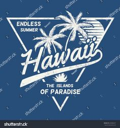 80's style vintage Hawaii print design for t-shirt and other uses
