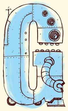 Items similar to Robot Alphabet Letter G - pink, blue, or green - Jimbot on Etsy Alphabet Book, Animal Alphabet, Letters For Kids, Letters And Numbers, Alphabet Birthday, Tom Whalen, G Words, The Iron Giant, Character Letters