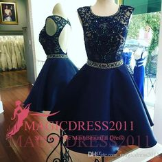 2016 Chic Royal Blue Short Prom Gowns Modest Lace Graduation Homecoming Dresses A-Line Jewel Backless…