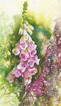 Painting experimental flowers in watercolour