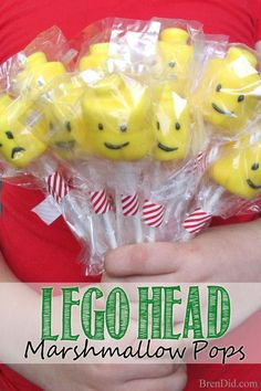 This Lego Head Marshmallow Pops Recipe makes easy and adorable Lego Cake Pops for any birthday party.