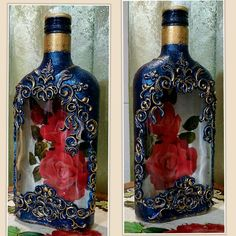 Trendy Vintage Home Decore Diy Wine Bottles Wine Bottle Art, Painted Wine Bottles, Diy Bottle, Wine Bottle Crafts, Bottles And Jars, Wine Bottle Centerpieces, Vases, Decoupage Glass, Jar Art