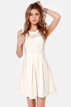 Pretty Cream Dress - Ivory Dress - Lace Dress - $63.00