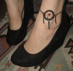 Black Dreamcatcher Anklet- Adjustable Leather Chain Feather Dangle Dream Catcher Feather Charm Wearable Ankle Tattoo. $18.50, via Etsy.