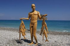 paper mache sculpture Fisherman 180 cm