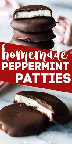 Homemade Peppermint Patties - House of Yumm - Homemade Peppermint Patties Homemade Peppermint Patties! Never buy these again! So easy to make, only a handful of ingredients needed! Perfectly cool peppermint center encased in decadent dark chocolate. Healthy Dessert Recipes, Candy Recipes, Easy Desserts, Holiday Recipes, Snacks Recipes, Easy Deserts To Make, Homeade Desserts, Pancake Recipes, Christmas Recipes