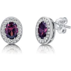 BERRICLE Sterling Silver Oval Purple CZ Halo Fashion Stud Earrings ($35) ❤ liked on Polyvore featuring jewelry, earrings, purple, stud earrings, women's accessories, purple jewelry, sterling silver earrings, post earrings and cubic zirconia stud earrings