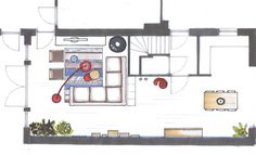 U-vormige woonkamer, indeling New Living Room, Home And Living, Living Room Inspiration, Interior Inspiration, Drawing Interior, Building A House, Sweet Home, Floor Plans, Layout