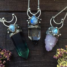 Lunar necklaces #crystal #jewelry #gypsy #freespirit #quartz #magick #crystaljewelry #boho #pagan #occult #wicca #earthy #auracrystals #sacred #treasures #witch #kitten #moonchild #witchcraft #handmade #oddities #cats #crystals #earthy #cat #goodvibes #vsco #hippy #freepeople #minerals
