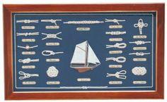 Knotentafel hinter Glas ENGLISCH Holz/Messing, 51x31cm