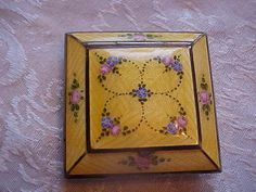 Vintage Old Antique Sterling Silver Mirror Compact Cloisonne Enamel Yellow Rose | eBay