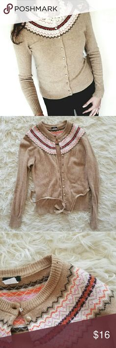 J. Crew sweater 100% lambs wool sweater. Warm, comfortable and beautiful cardigan. There is a tie wich is a little bit damaged as you can see on the last picture. And there is a small hole on the collar. Label says size M but I would say it runs now more as S. J. Crew Sweaters Cardigans