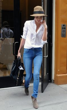 white shirt, blue jeans