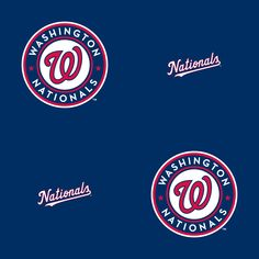 Washington Nationals: Logo Pattern (Blue) - Officially Licensed Removable Wallpaper