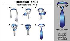 'How to Tie a Tie' Part - Oriental Knot Other in the series : Four in Hand Knot // Half Windsor Knot // Full Windsor Knot // Nicky Knot // Bow Tie // Kelvin Knot // Oriental Knot // Pratt Knot //. Half Windsor, Windsor Knot, Bow Tie Knot, Tie Knots, Bow Ties, Four In Hand Knot, Eldredge Knot, Tie A Necktie, Vanities