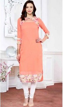 Salmon Color Georgette Thread Work Readymade Kurti | FH462972220