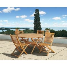 5 Piece Wooden Patio Pool Deck Set Outdoor Furniture Table Folding Chairs Garden