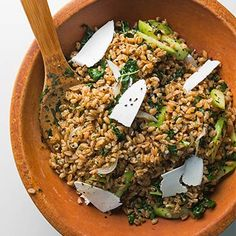 Farro salad with cucumber, za'atar and Ricotta Salata.