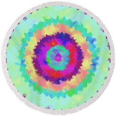 Painted mandala Round Beach Towel by Lenka Rottova. The beach towel is in diameter and made from polyester fabric. Beach Towel Bag, Beach Mat, Household Items, Towels, Mandala, Outdoor Blanket, Technology, Creative, Fabric
