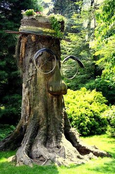 With some old bicycle wheels, a wooden nose, and a wicker hat this tree stump suddenly comes to life.