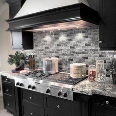 Backsplash With Dark Cabinets, Dark Kitchen Cabinets, Kitchen Cabinet Design, Modern Kitchen Design, Interior Design Kitchen, Rustic Backsplash, Island Kitchen, Backsplash In Kitchen, Home Depot Backsplash