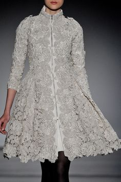 Gray Lace Coat - Christophe Josse Fall 2011 Couture