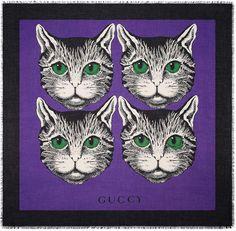 253a2f8714b Mystic Cat print modal silk shawl A purple modal silk shawl with a  green-eyed