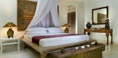 Typical bed style of Bali's villas.
