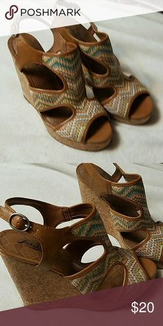 Lucky Brand cork wedge shoe Size 10 Never worn except to try on! Lucky Brand Shoes Sandals