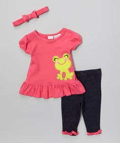 Another great find on #zulily! Pink Frog Tunic Set by Petite Bears #zulilyfinds