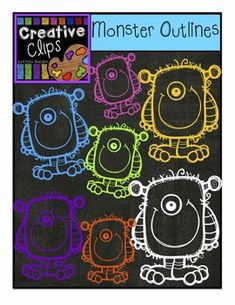 FREE CLIPART! This FREE set of clips is full of colorful, monster outlines that just POP on a chalkboard background!
