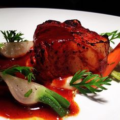"""New Topolo Menu: """"Things Aren't Always As They Seem"""" Halibut steak, camote potatoes, escabeche vegetables, guajillo chile demiglace"""