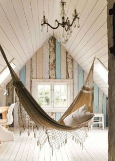 """Consider me floored by the coolness of this. Pastel wood, indoor hammock, chandelier, all in an a-frame attic!"" I just love the hammock! Attic Rooms, Attic Spaces, Attic Bedroom Small, Attic Bathroom, Master Bedroom, Interior Exterior, Interior Design, Interior Cladding, Modern Interior"