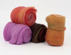Carded Art Batts 450gr (1lb), 22mic merino felting wool, for needle felting, wet felting, spinning. Set No.8