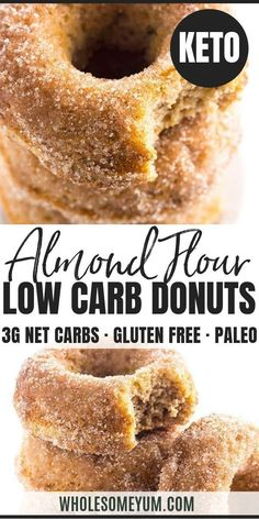 recipes Low Carb Donuts Recipe - Almond Flour Keto Donuts (Paleo, Gluten Free) - This low carb donuts recipe with almond flour is easy to make. These keto donuts taste just like regular sugar coated ones, with options for paleo donuts, too! Keto Friendly Desserts, Low Carb Desserts, Low Carb Recipes, Real Food Recipes, Donuts Keto, Paleo Donut, Gluten Free Donut Recipe Baked, Doughnuts, Low Carb Breakfast