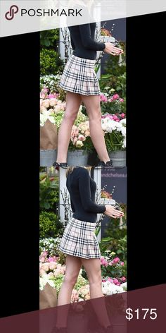 """Burberry pleated signature plaid skirt 100% wool.  Fully lined . Made in Scotland. Waist 14"""" length 13.75. Belt 100% leather. With Burberry sign on buckle. Tag as U.K. 4 USA 2 .(first picture for styling )      Burberry 100% leather belt include.     Belt has scuff. Please check additional picture.  Authentic! NO Trade!!!! Please do not ask! Burberry Skirts Mini"""