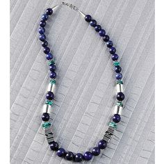 Navajo Lapis and Silver Necklace - SmithsonianStore.com