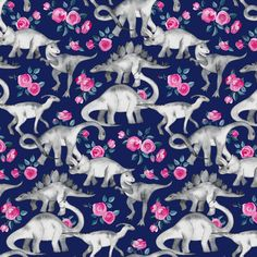 Tiny Dinosaurs and Roses on Dark Blue Purple fabric by micklyn on Spoonflower - custom fabric
