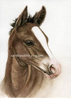 Arabian filly horse painting 5x7 print from by Earthspalette, $10.00