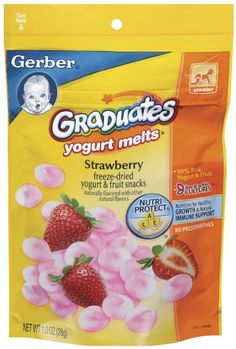 Gerber Graduates Yogurt Melts, Strawberry, 1-Ounce Pouches (Pack of 8) A pack of eight, 1-Ounce (total of 8-Ounces). Naturally Flavored. 99% Real Yogurt and Fruit. Ships in Certified Frustration-Free Packaging.