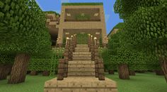 Minecraft Tree House Entrance Stairs