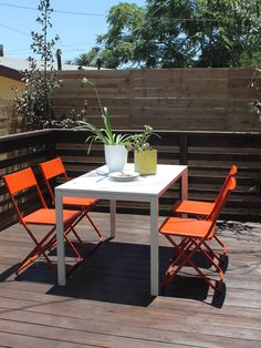Orange and White Deck Furniture with IKEA Chairs and Table - modern - patio - los angeles - Madison Modern Home. IKEA's Jeff chairs on the deck painted with Rustoleum's Fire Orange