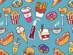 pattern by @marushabelle #illustration #fastfood #junkfood