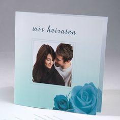 blau romantische einladungskarten mit foto