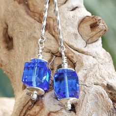 Sapphire Swarovski Handmade Earrings Sterling Blue OOAK Jewelry Dangle | ShadowDogDesigns - Jewelry on ArtFire