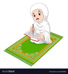 Muslim girl reading holy quran vector image on VectorStock Muslim Family, Muslim Girls, Reading Al Quran, Preschool Classroom Decor, Animated Emoticons, Quran Book, Islamic Cartoon, Islam For Kids, Emoji Images