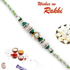 Picture of Green and Silver beads American diamond Rakhi