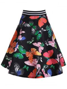 High Waisted Butterfly Print Skirt | Psychedelic Monk