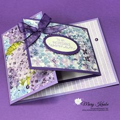 Card Making Templates, Card Making Tutorials, Card Making Techniques, Making Ideas, Joy Fold Card, Fancy Fold Cards, Folded Cards, Purple Cards, Stamping Up Cards